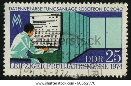 GERMANY - CIRCA 1974: stamp printed by Germany, shows Robotron EC 2040, circa 1974 - stock photo
