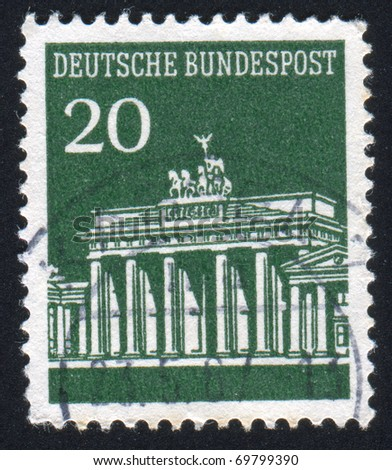 GERMANY - CIRCA 1965: stamp printed by Germany, shows shot put, circa 1965