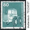 GERMANY - CIRCA 1975: stamp printed by Germany, shows Tractor, circa 1975 - stock photo