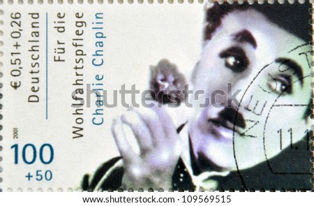 GERMANY - CIRCA 2001 : stamp printed in Germany showing actor Charles Chaplin, circa 2005