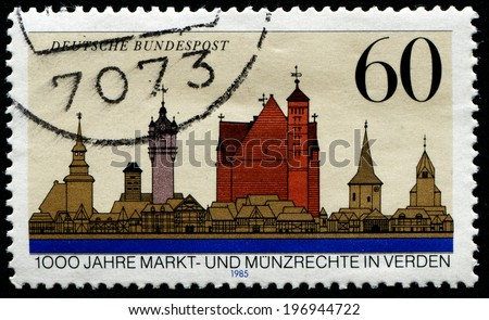 GERMANY - CIRCA 1985: stamp printed in Germany, shows old city, circa 1985.