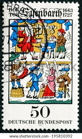GERMANY - CIRCA 1977: stamp printed in Germany, shows Traveling Surgeon Johann Andreas Eisenbarth, circa 1977.