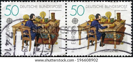 GERMANY - CIRCA 1979: stamps printed in Germany shows Telegraph office in 1863, circa 1979 - stock photo