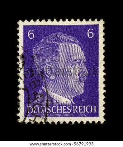 GERMANY - CIRCA 1941:  Used Postage Stamp showing Portrait of Adolf Hitler circa 1941. - stock photo