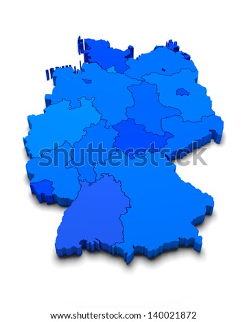 Germany 3D blue map on white isolated - stock photo
