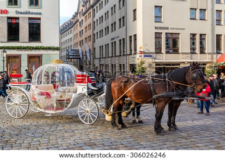 GERMANY, DRESDEN - DECEMBER 31, 2013: Street of Dresden.