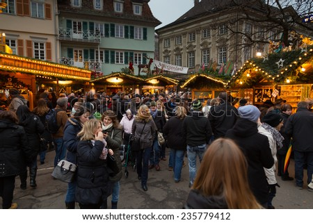 GERMANY, Esslingen am Neckar,  DEC. 06. 2014 : People visit the famous Christmas Market in the streets. - stock photo