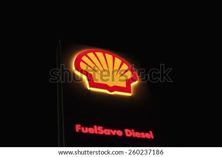 GERMANY-FEB 22:Shell gas station logo at night on February 22,2015 in Germany.Shell Oil Company is the United States-based subsidiary of Royal Dutch Shell. - stock photo
