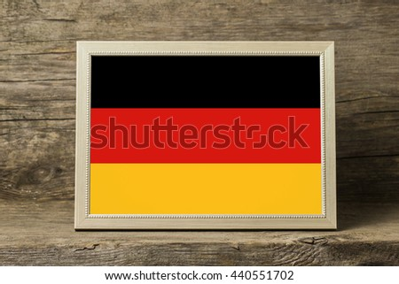 Germany Flag in a wooden photo frame - stock photo