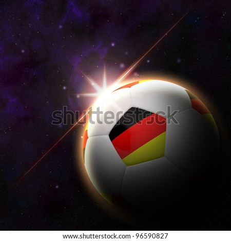 Germany flag on 3d football with rising sun illustration for Euro 2012 Group B - stock photo