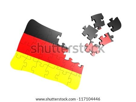 Germany flag puzzle - stock photo