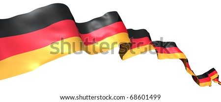 Germany flag ribbon isolated on white. 3d concept illustration