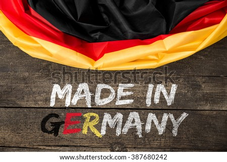 Germany Flag with Text Made in Germany, concept german quality