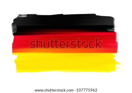 Germany hand painted national flag isolated on white - stock photo