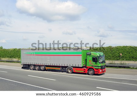 GERMANY - July 28:  MERCEDES BENZ truck on the highway on July 28,2016 in Frankfurt, Germany.