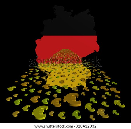 Germany map flag with euros foreground illustration - stock photo