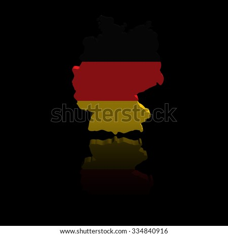 Germany map flag with reflection illustration - stock photo