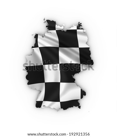 Germany map showing a checkered flag. High quality 3D illustration. - stock photo