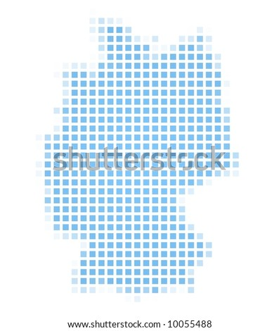 Germany map square mosaic. Easy to recolor. - stock photo