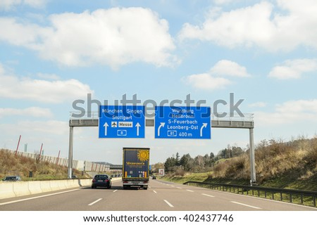 GERMANY - MAR 26, 2016: Bundesautobahn or Federal Motorway highway street signsign. It runs through the German states of Hessen and Baden-Wurttemberg and connects on its southern ending to the Swiss