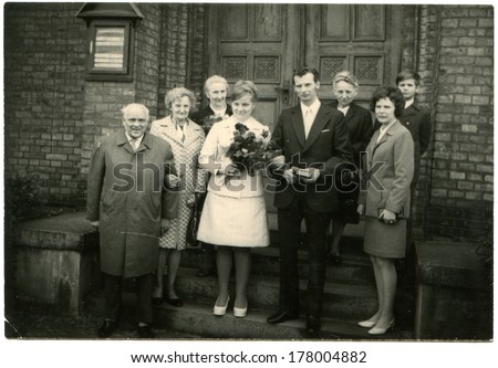 GERMANY -  May 17, 1973: An antique photo of wedding