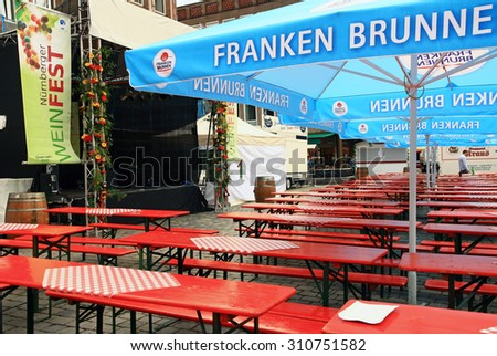 GERMANY. NURNBERG - JUNE 26, 2015: Street cafe and a stage for performances of the historical part of the city.