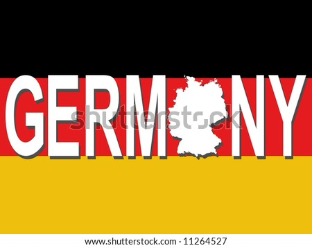 Germany text with map on German flag illustration JPG