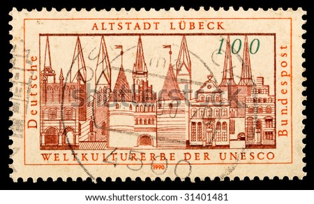 GERMANY - 1990: Vintage German postage stamp with a picture of city Lubeck