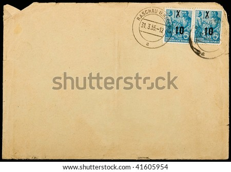 GERMANY - 1955:Vintage used mailing envelope,circa 1955.