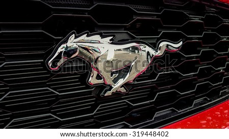 Germering Auto Show, September 20 2015 Germany - Sunday, Logo of the new Ford Mustang - stock photo