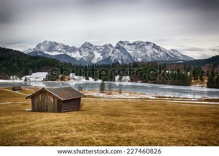 Geroldsee at wintertime, Krün, German Alps - stock photo