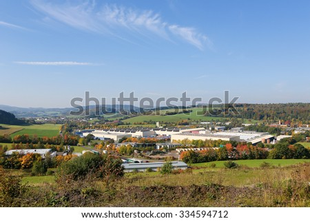 GEROLSTEIN, GERMANY - OCTOBER 11, 2015: The main factory of Gerolsteiner Brunnen, a leading German mineral water firm in the Vulkaneifel district in Rhineland-Palatinate, Germany. - stock photo