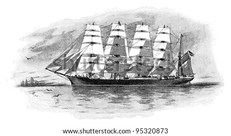 Gerrman five-masted steel barque / vintage illustration from Meyers Konversations-Lexikon 1897 - stock photo