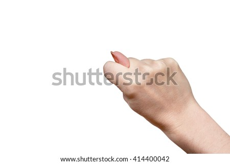 Gesture by one female hand fig isolated on white background - stock photo