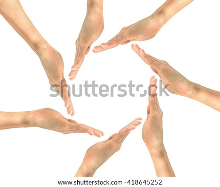 Gesture hands. Protective circle of human hands