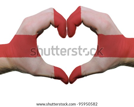 Gesture made by england flag colored hands showing symbol of heart and love, isolated on white background