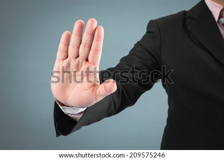 Gesture of businessman, isolated on white background. - stock photo