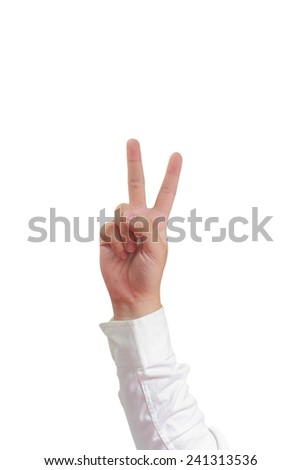 Gesture of hand showing number two with fingers in formal long sleeved shirt isolated on white - stock photo
