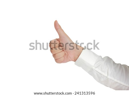 Gesture of hand showing thumb up in formal long sleeved shirt isolated on white - stock photo