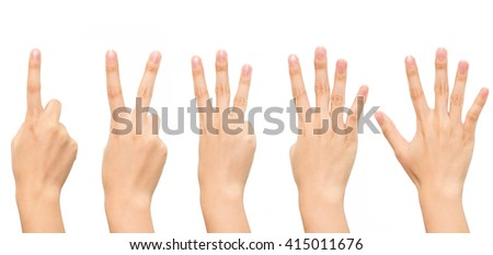 Gesture of woman hand count