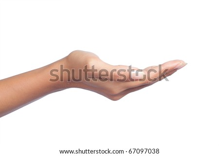 gesture of womans hand open hand isolated on white background - stock photo