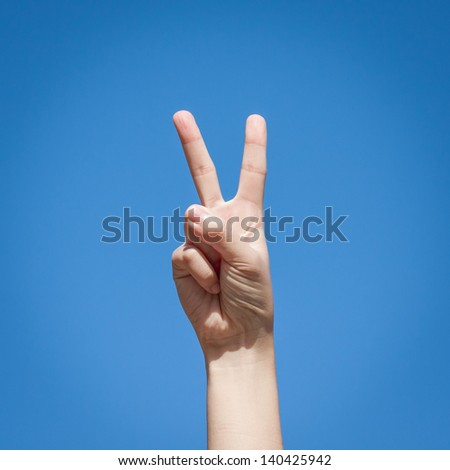 Gesture symbol number two - stock photo