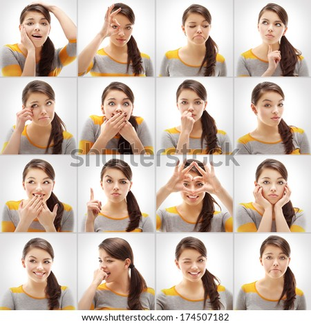 Gestures and emotions  ,collection set - stock photo