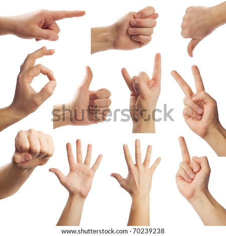 Gestures on white background - stock photo