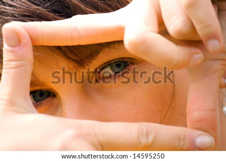 gestures young girl - stock photo