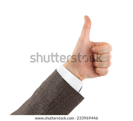 Gesturing thumb hand isolated on white background - stock photo