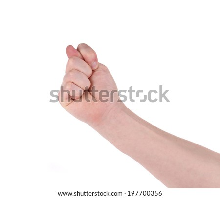 Gesturing with finger hand closeup isolated on white background - stock photo