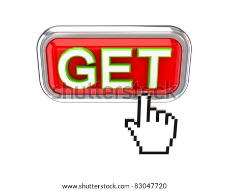 GET button and cursor. 3d rendered. Isolated on white background. - stock photo