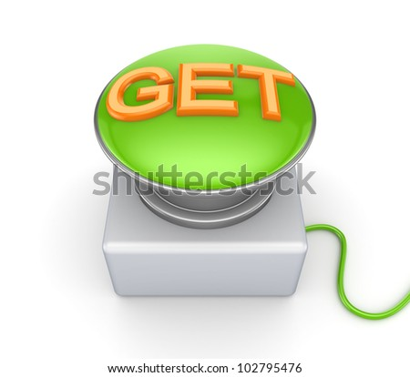 GET button.Isolated on white background.3d rendered. - stock photo