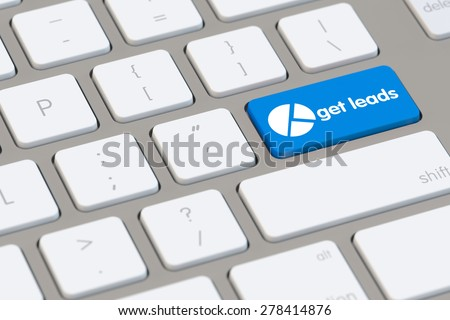 Get leads icon on blue key of computer keyboard (3D Rendering)